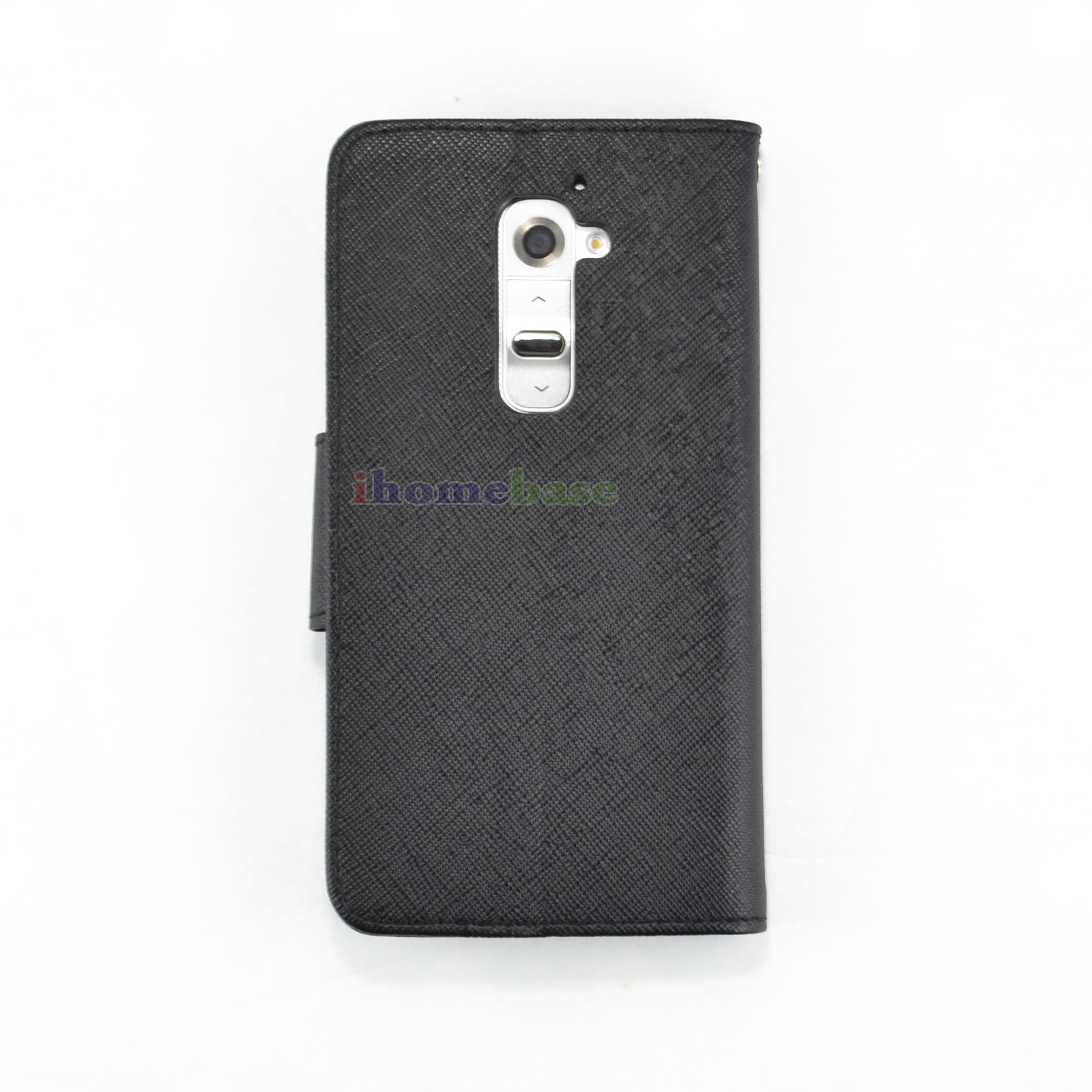 Luxury Magnetic Wallet PU Leather Credit Card Holder Flip Case Cover for LG G2