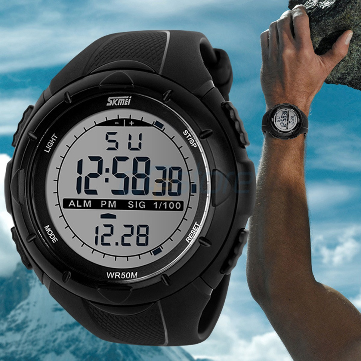skmei men 039 s led digital alarm date military sports army skmei men s led digital alarm date military sports army waterproof quartz watch