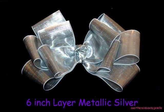 Silver Hair Bows Girls Baby Womens Hand Sewn Metallic Clips U Pick