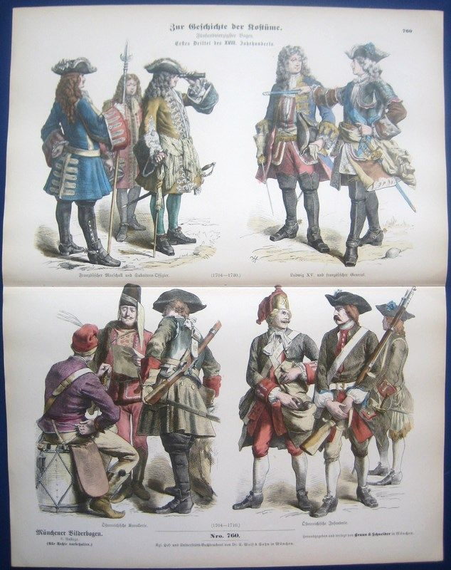 1890-PRINT-FRENCH-GERMAN-MILITARY-UNIFORM-18TH-C