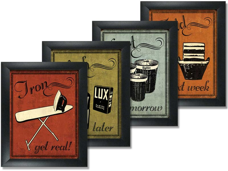 4 Framed Laundry Set Mini Mini Prints Vintage Signs Art Print