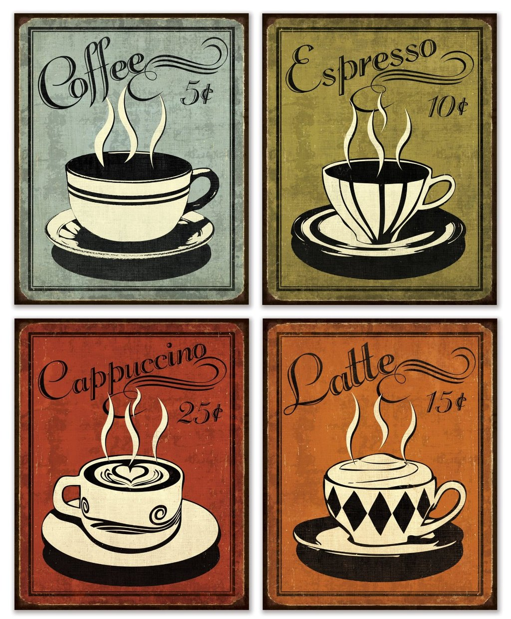 Coffee Posters Retro ~ Retro coffee set by n harbick x art print poster ebay