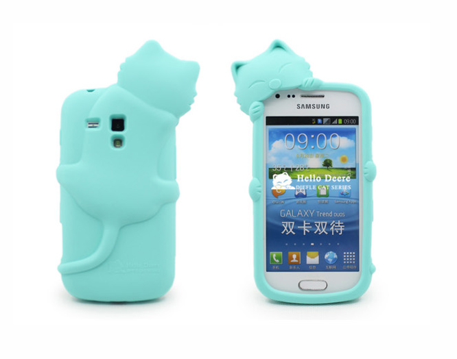3D Cartoon Smile Cat Soft Silicone Rubber Case For Samsung Galaxy S Duos S7562