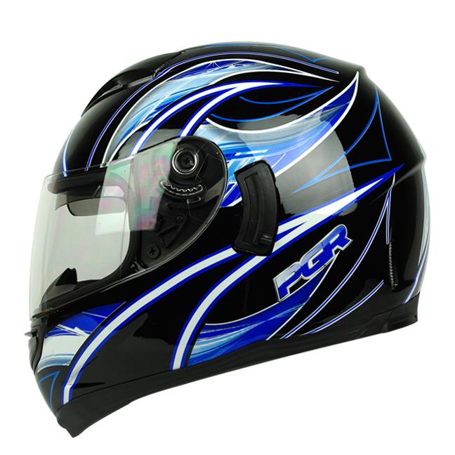 PGR Kraken Black Blue Dual Visor Motorcycle Full Face Helmet DOT