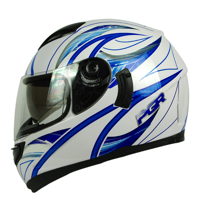 PGR Kraken White Blue Dual Visor Motorcycle Full Face Helmet DOT