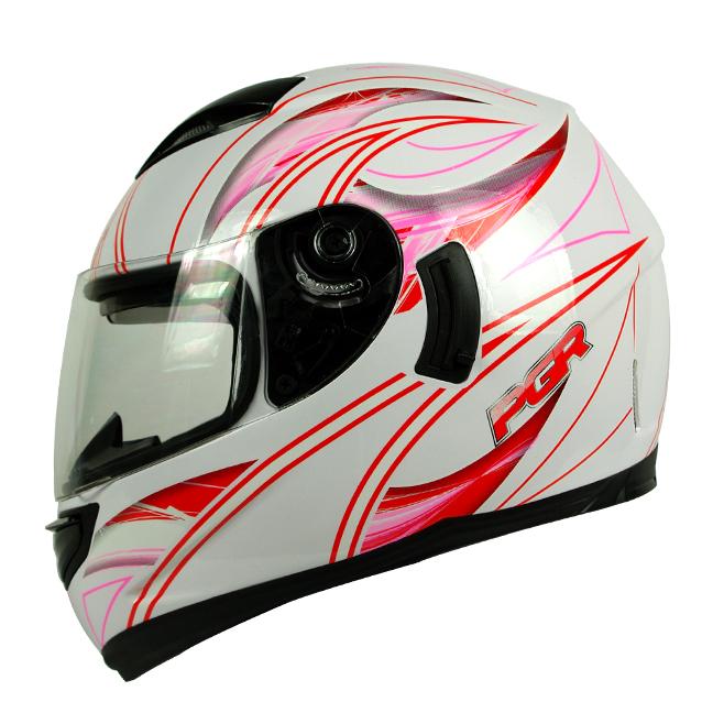 PGR Kraken White Red Dual Visor Motorcycle Full Face Helmet DOT