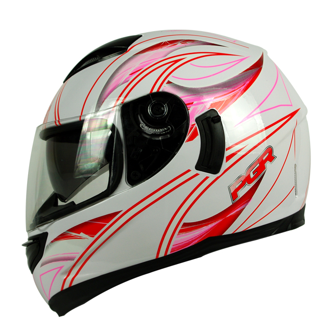 PGR Kraken White Red Dual Visor Motorcycle Full Face Helmet DOT