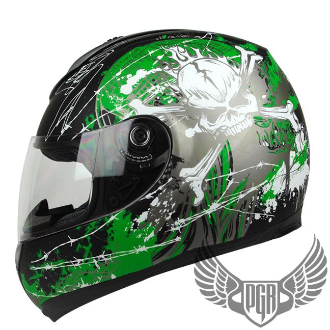 Matte Black Green Skull Full Face Dot Apporved Motorcycle Street Bike