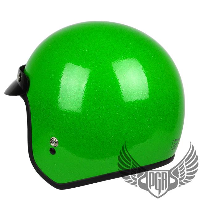 Metal Flake Green DOT APPROVED Motorcycle Bobber Helmet Chopper Moped ...