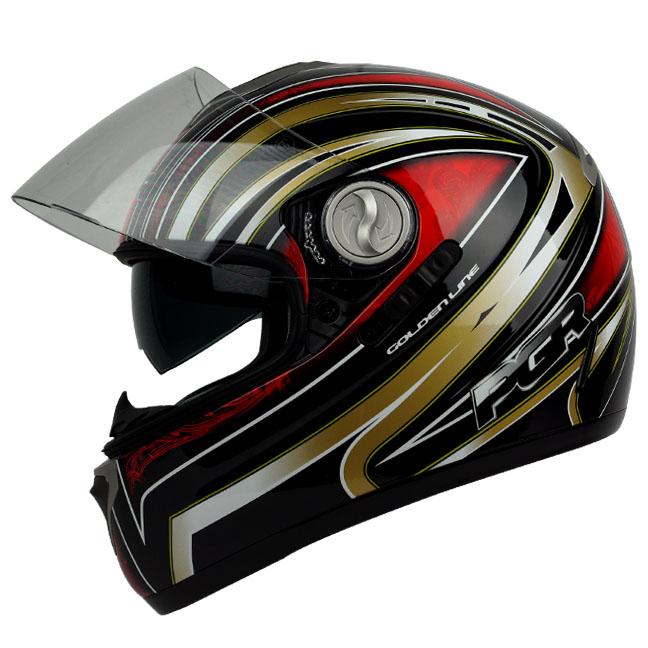PGR DV100 LINE Black Red Dual Visor DOT APPROVED Motorcycle Full Face