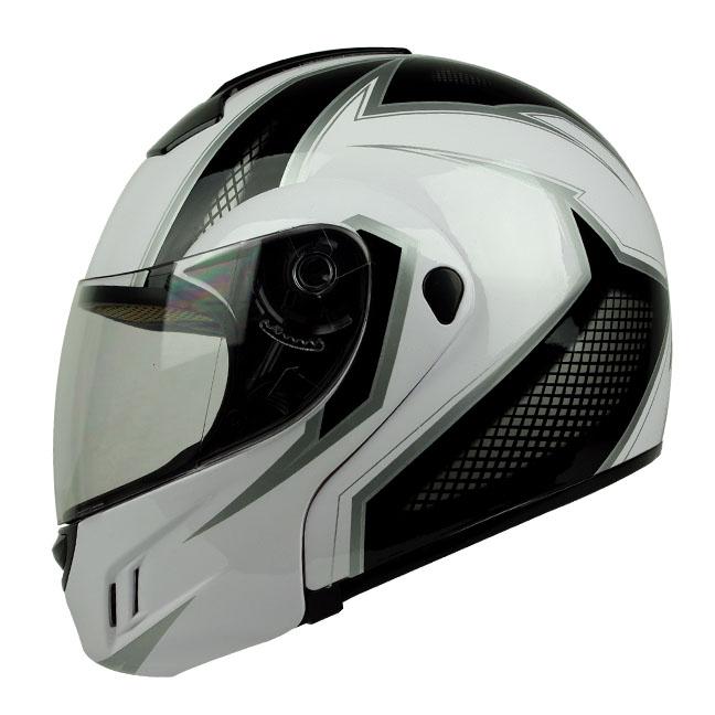 PGR MEGA White Black Flip Up Modular DOT APPROVED Motorcycle Full Face