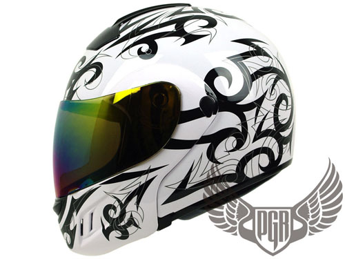 Flip Up White Full Face DOT Motorcycle Helmet Modular L