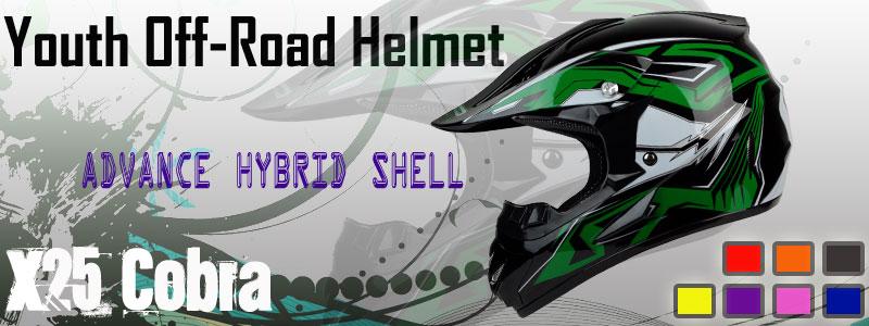 PGR X25 PURPLE COBRA MX Off Road Dirt Bike Motocross Quads ATV Helmet