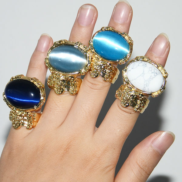 12-Colours-Celebrity-Must-Have-Woman-Art-Oval-Stone-Golden-Hottest-Ring-1042