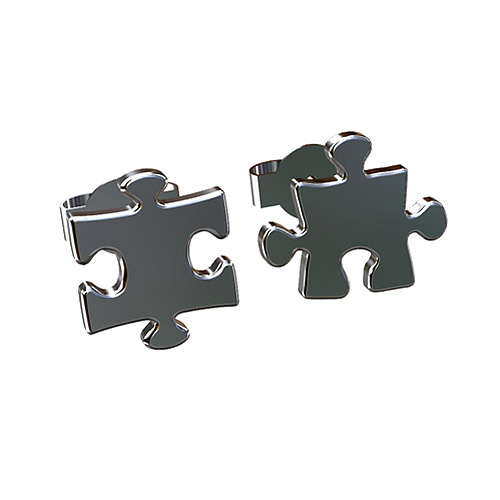 P&P Luxury Solid 14K White Gold Puzzle Stud Earrings at Sears.com