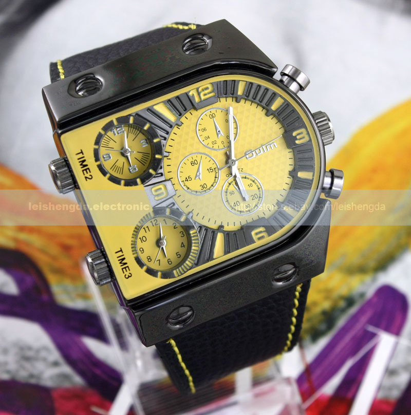 Russia-Military-Army-Multi-Time-Zones-3-Times-Mens-Sports-Quartz-Leather-Watch