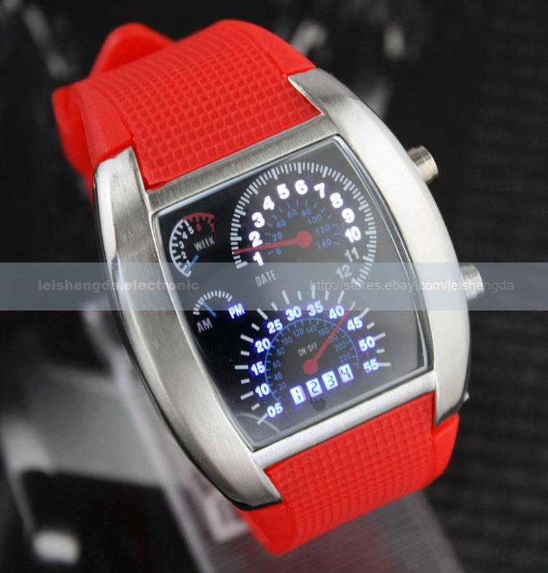 Fashion-Speed-Binary-Blue-Led-Dot-Matrix-Digital-Unisex-Sports-Mens-Wrist-Watch