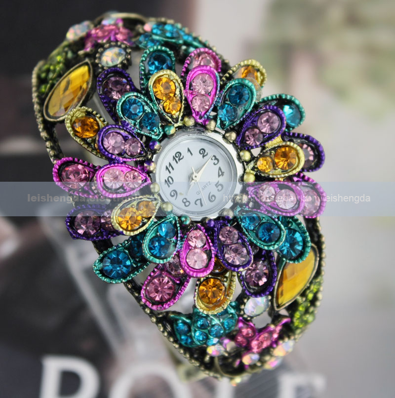 Fashion Shine Womens Ladies Color Crystal Bronze Bangle Bracelet Quartz Watch