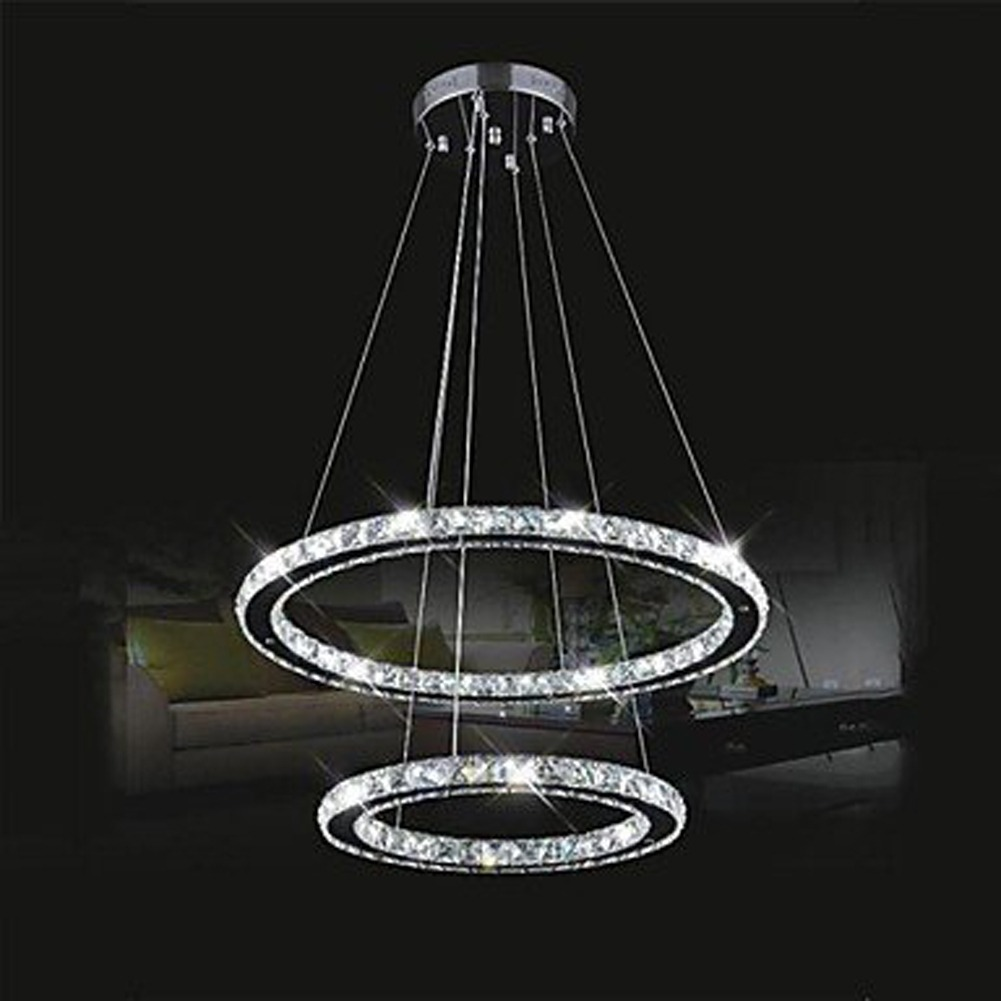 Modern ring nature crystal led diy ceiling pendant light for Diy led chandelier