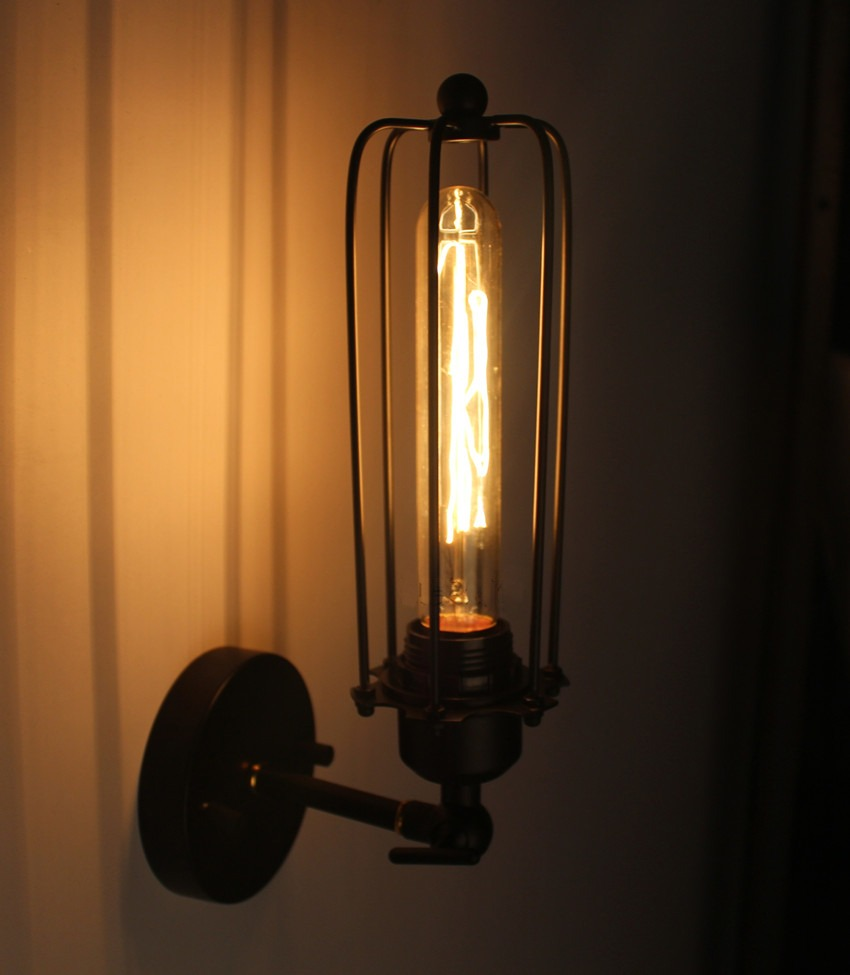 Wall Sconce With Cage : Vintage Edison Style Industrial Loft Simplicity Wall Lamp Black Cage Wall Sconce eBay