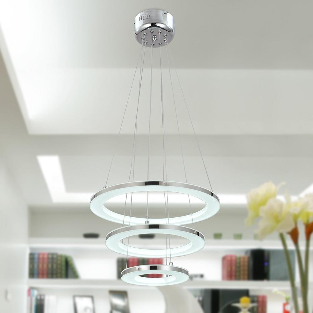 creativo soffitto Bar : Moderno Cristallo LED Soffitto Lampada A Sospensione Acciaio Inox ...