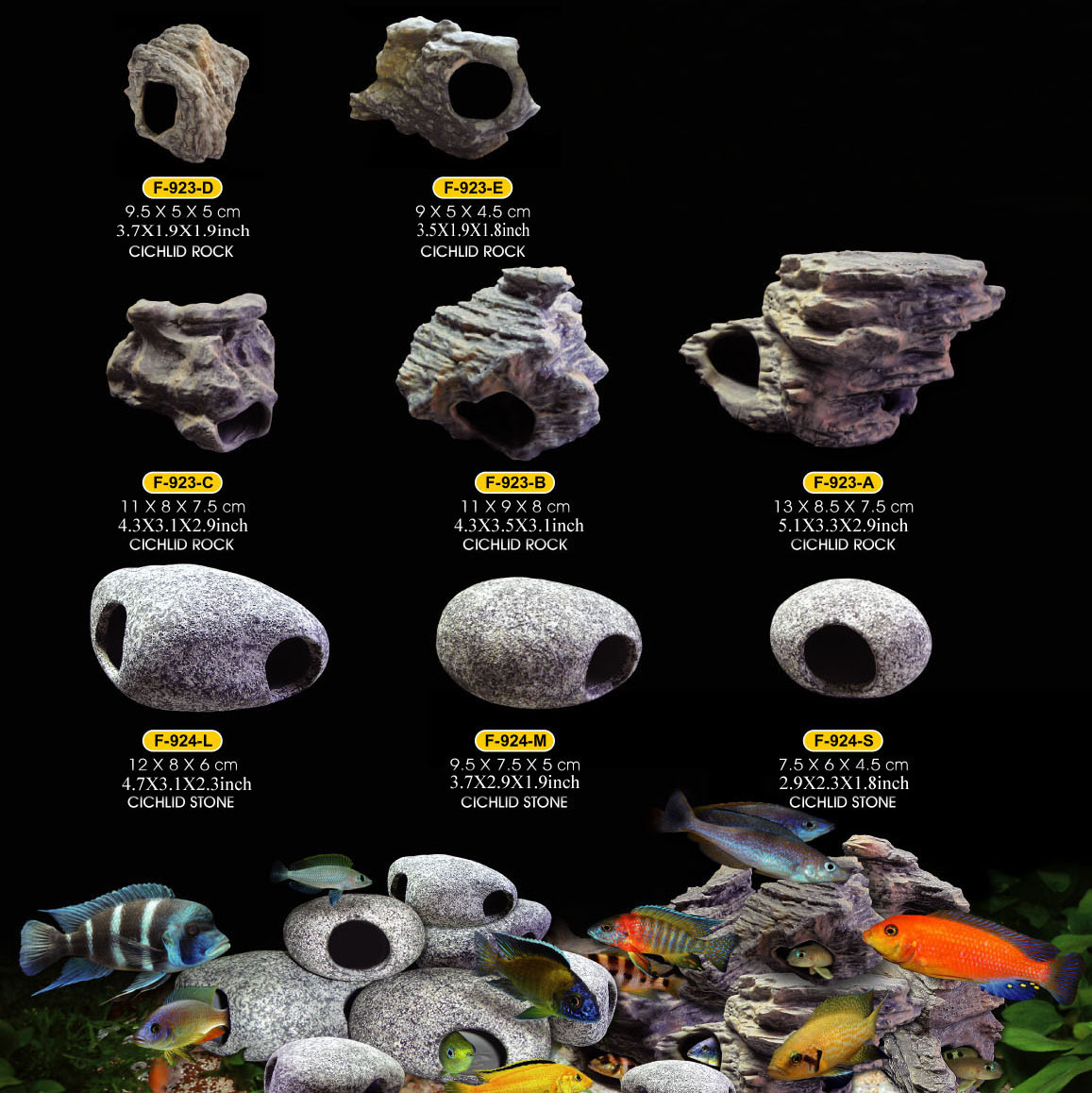 Cichlid stones ceramic aquarium rock cave decoration for for African cichlid tank decoration