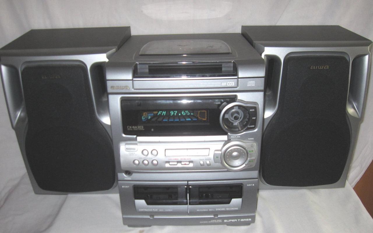 compact shelf stereo system 3 cd changer am fm dual. Black Bedroom Furniture Sets. Home Design Ideas