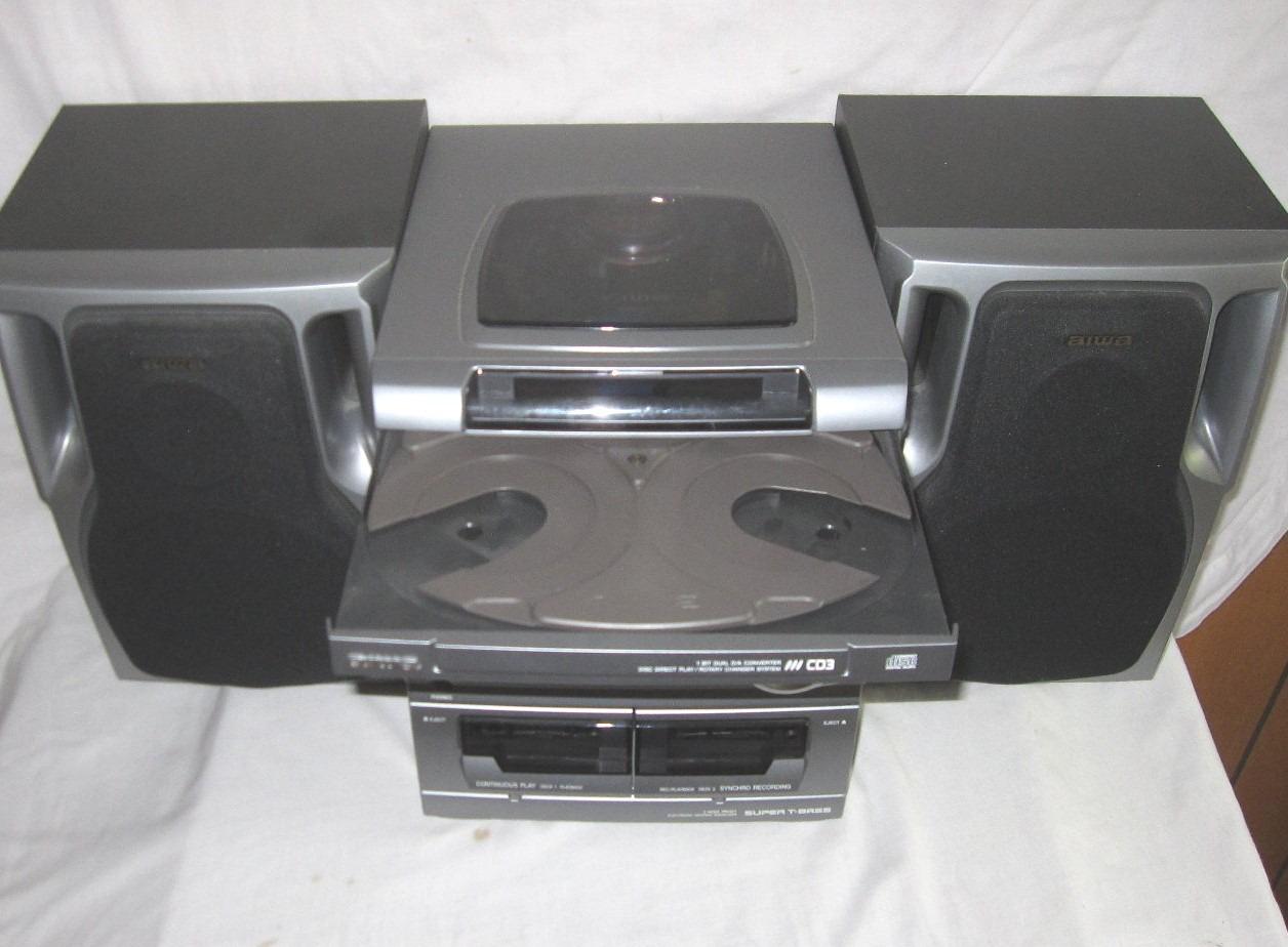aiwa 40 watt shelf system w 3 cd changer remote images. Black Bedroom Furniture Sets. Home Design Ideas
