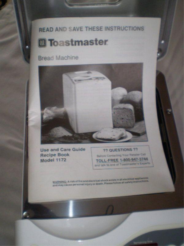 toastmaster bread box 1172 manual