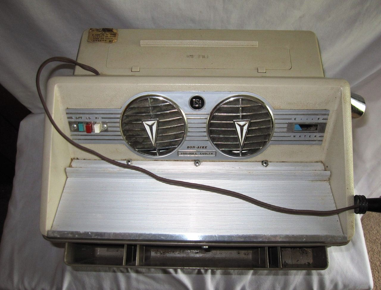 Charge Air Cooler Ice Box : Vintage bon aire car swamp air cooler ice box fan cooling