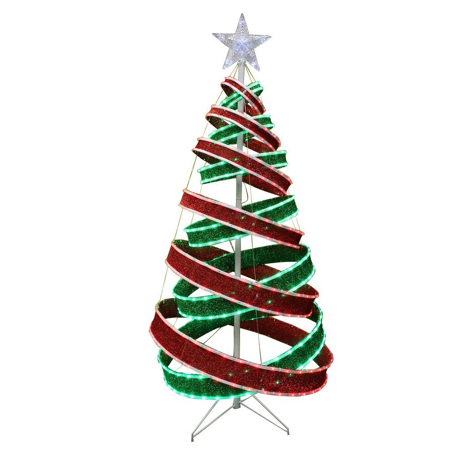 in Box HOLIDAY LIVING 5 Ft. Spiral Ribbon LED Outdoor Christmas Tree ...