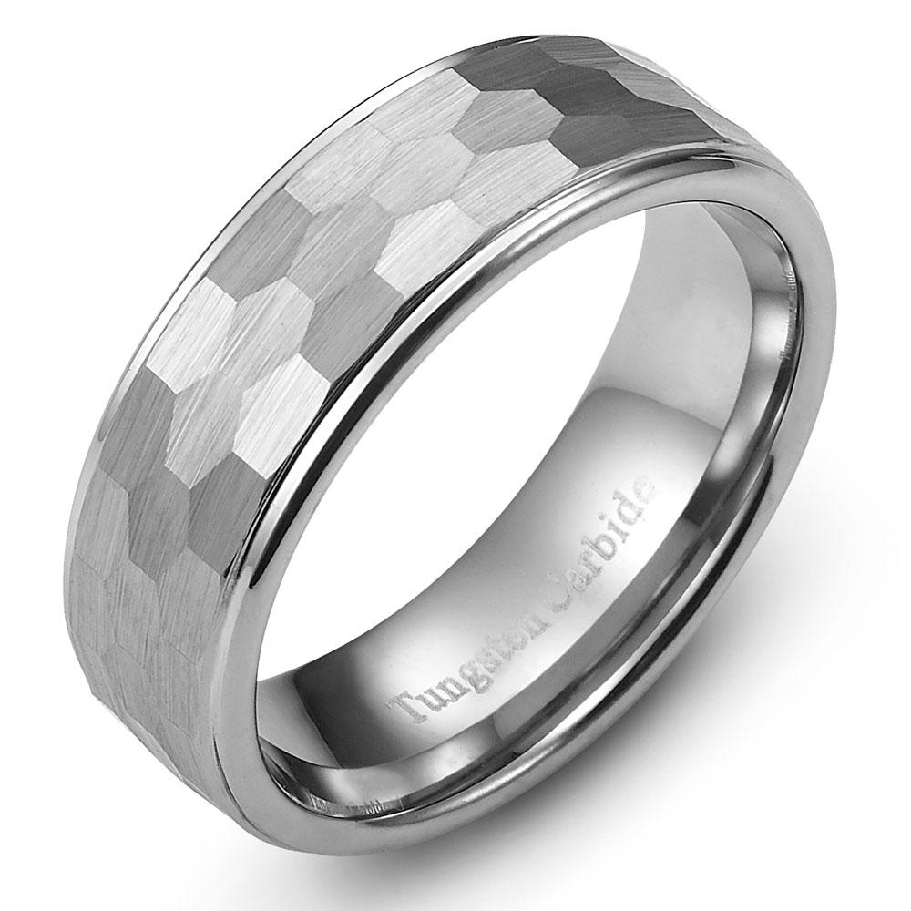 Hammered-Tungsten-Carbide-Band-Wedding-Ring-Size-7-5-12