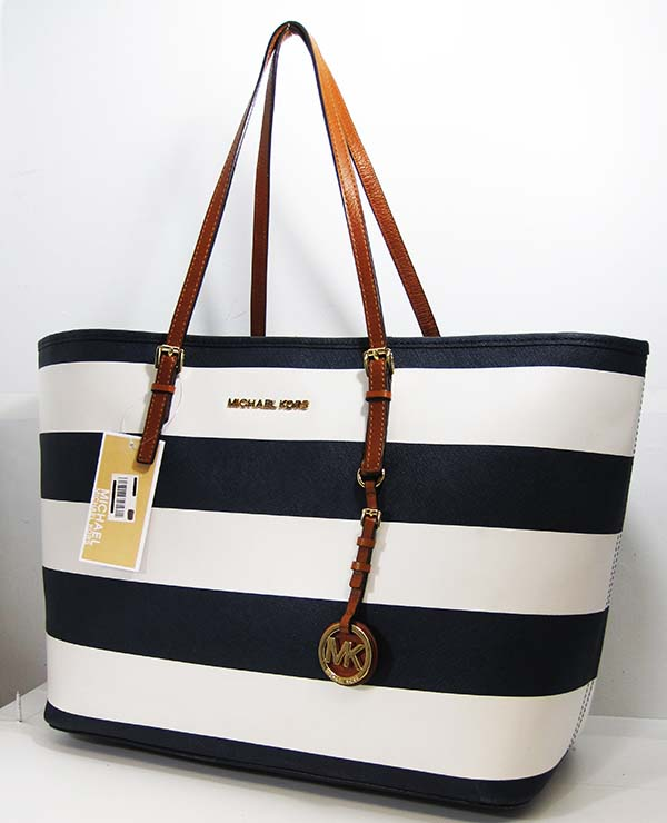 michael kors travel navy blue white stripes saffiano leather tote bag. Black Bedroom Furniture Sets. Home Design Ideas