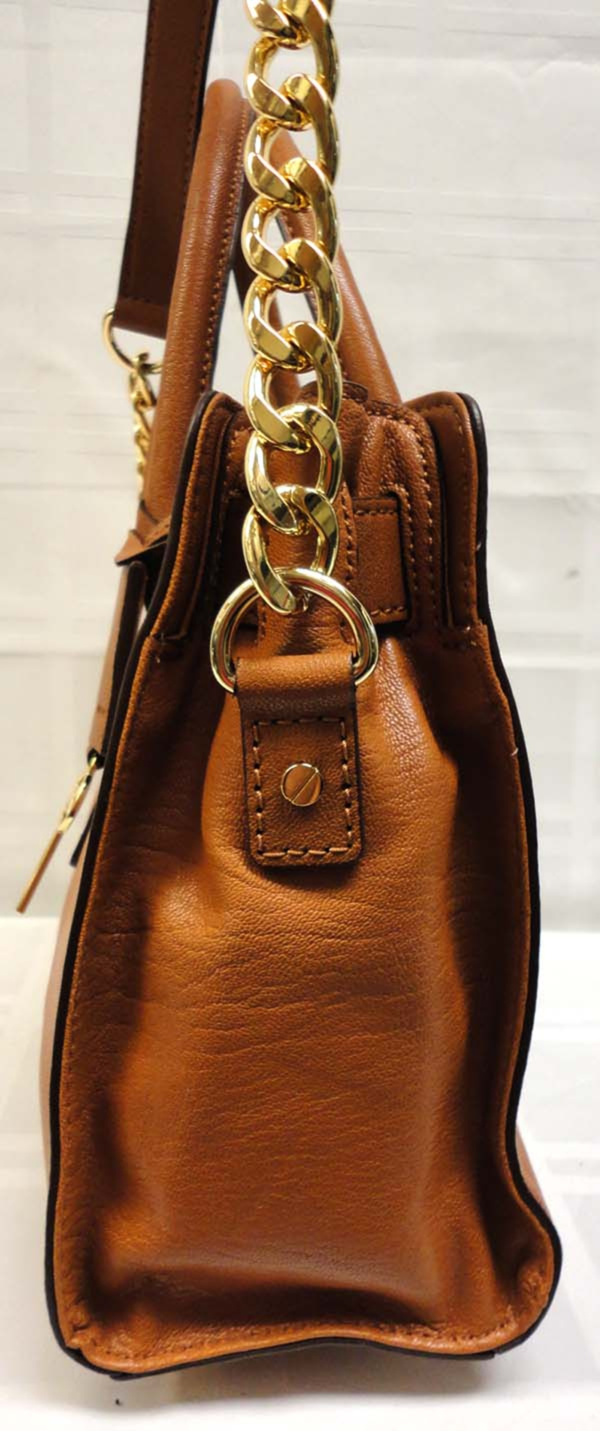 Authentic Michael Kors Brown Hamilton Leather Satchel Bag MSRP $298