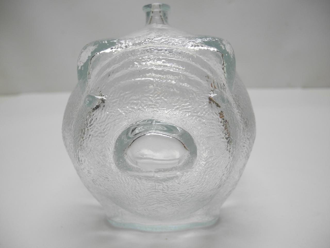 Vintage Anchor Hocking Large Clear Glass Pig Piggy Bank