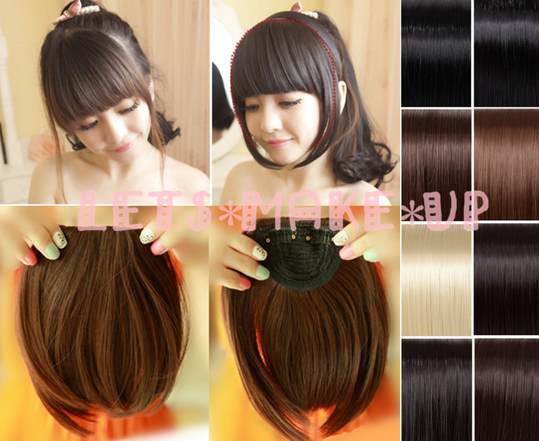 Clip In On Bang Fringe Hair Extension Straight Longside Extensions