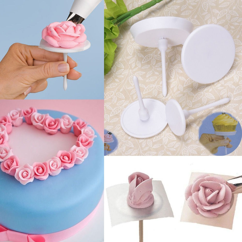 Cake Decorating Nails : 4Pcs Cake Flower Nail Handle Cupcake Icing Cream ...