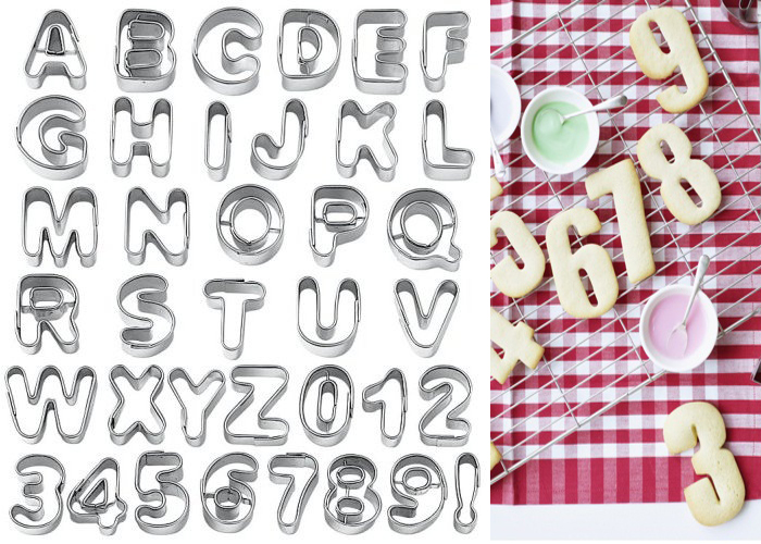 Alphabet Letter Number Fondant Icing Cookie Cutters Set ...