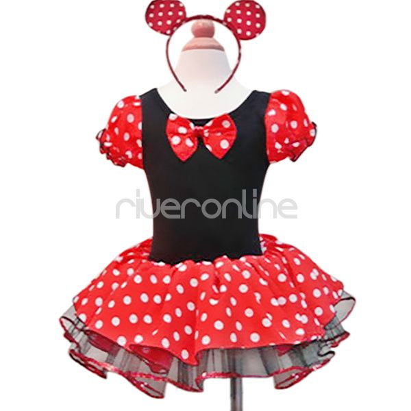 Suesses-Minnie-Mouse-Kostuem-Maedchen-Tutu-Ballett-Kleid-Party-Mit-Ohren-Gr-86-140