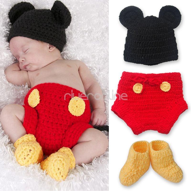 MICKEY-MOUSE-Neugeborenen-Baby-Gestrickt-Kostuem-3tlg-Sets-Fotoshooting-Gr-6-12M