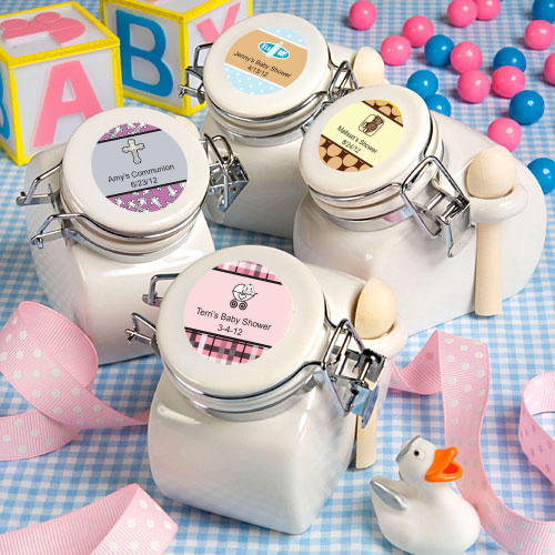 36 Personalized Baby Shower Ceramic Jar Favors