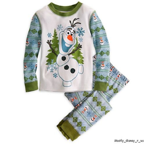 NEW-Disney-Store-Boys-Frozen-Olaf-PJ-Pal-Pajamas-Two-Piece-Set-Long-Sleeve-Green