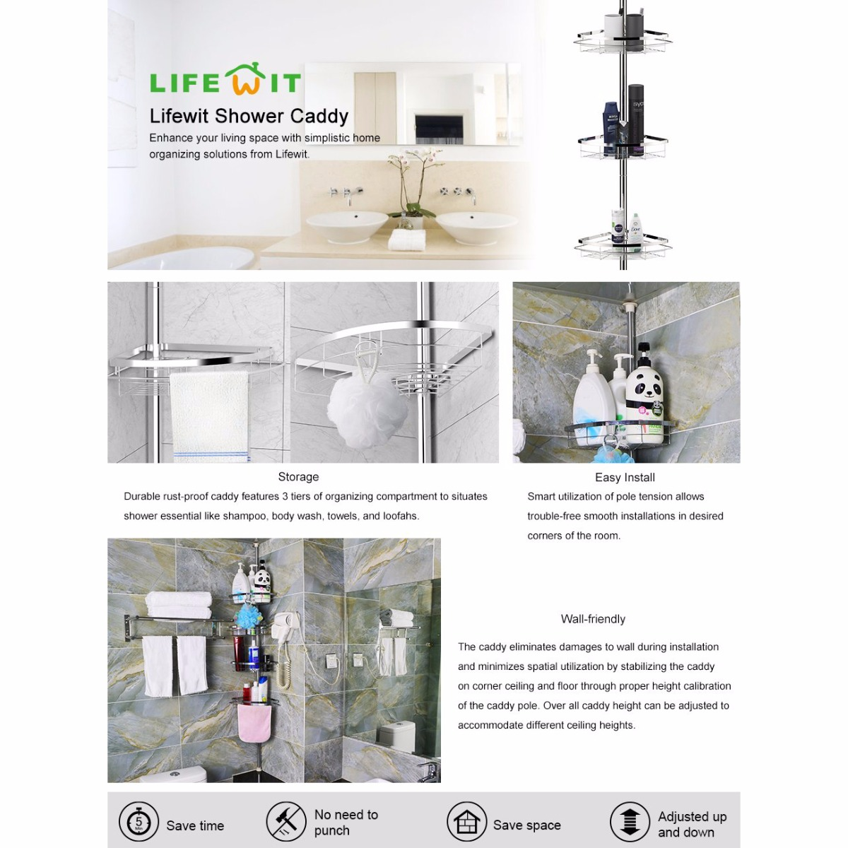 Tension Pole Corner Shower Caddy lifewit 4 tier adjustable tension corner pole caddy bathroom
