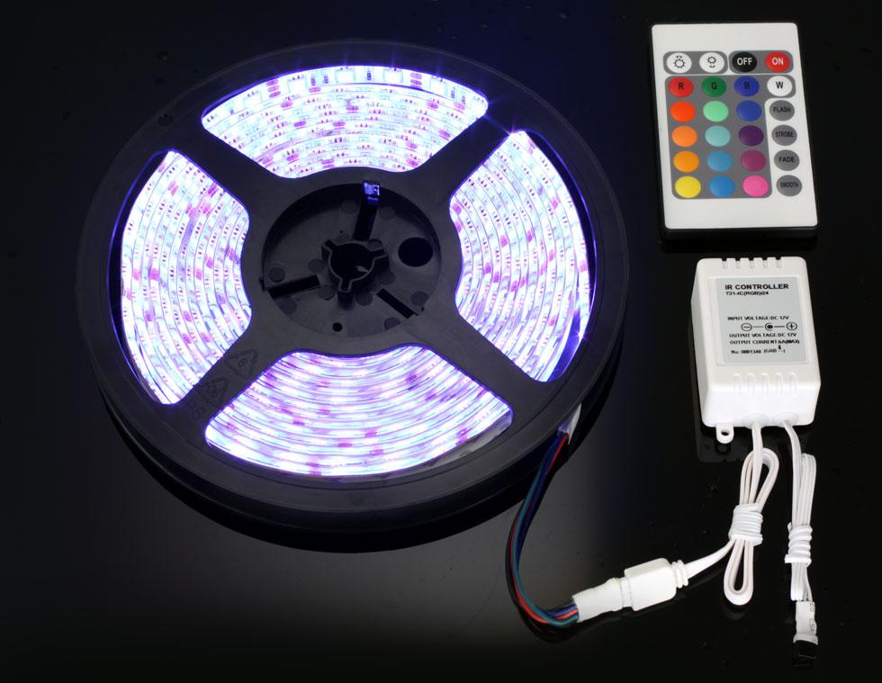 5m 5050 rgb led strip 12v remote controller power ebay. Black Bedroom Furniture Sets. Home Design Ideas