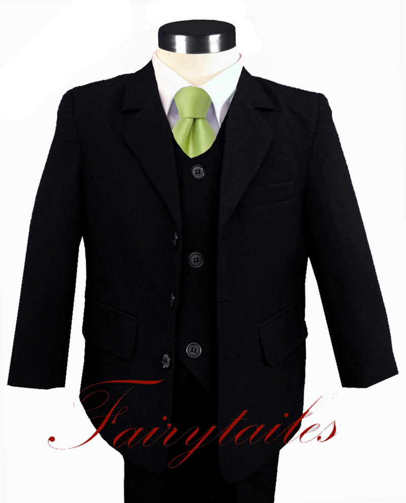 NWT Boy Black Suit W/Green Tie Choice Of Many Sizes
