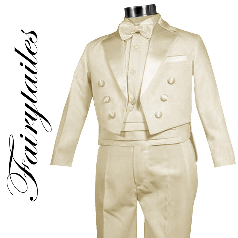 New-Boy-Ivory-Tail-Tuxedo-Suit-Size-From-Baby-to-Teen