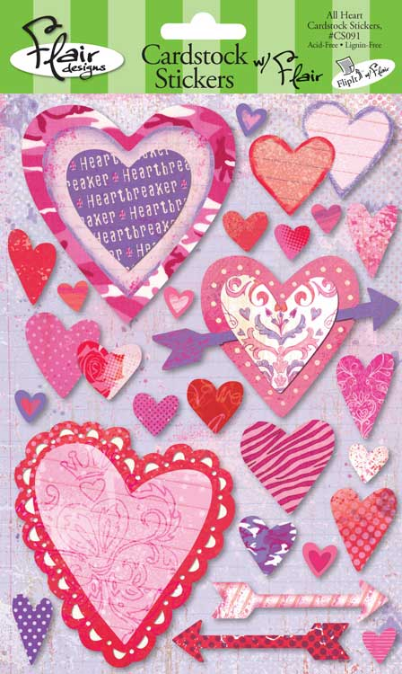 Flair All Heart Cardstock Stickers-flair, all heart, cardstock stickers, valentine, love, holiday, scrapbook, embellishments