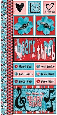 Bo Bunny Heart Throb Cardstock Stickers-Bo Bunny, heart throb, love, valentine, cardstock stickers, scrapbooking, embellishments