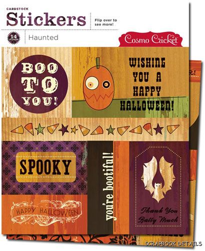 Cosmo Cricket Haunted Carstock Stickers-cosmo cricket, haunted cardstock stickers, scrapbooking, embellishments, halloween