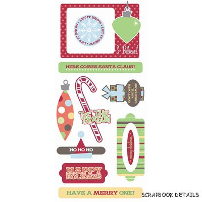 SEI Christmas Holiday Hoopla Puff Stickers-SEI, christmas holiday hoopla puff, die cuts, scrapbooking, card making, embellishments, stickers